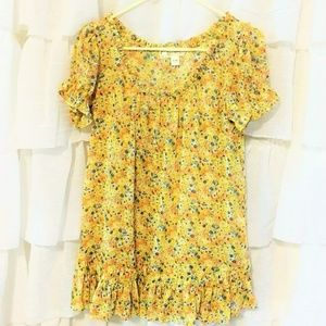 Decree Boho Floral Ruffled Blouse Yellow Blue XL